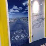 """Glastür mit Motive """"Route 66"""""""